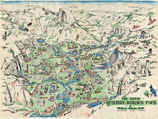 1946 Barnes Pictorial Map of the Yosemite National Park, California ...